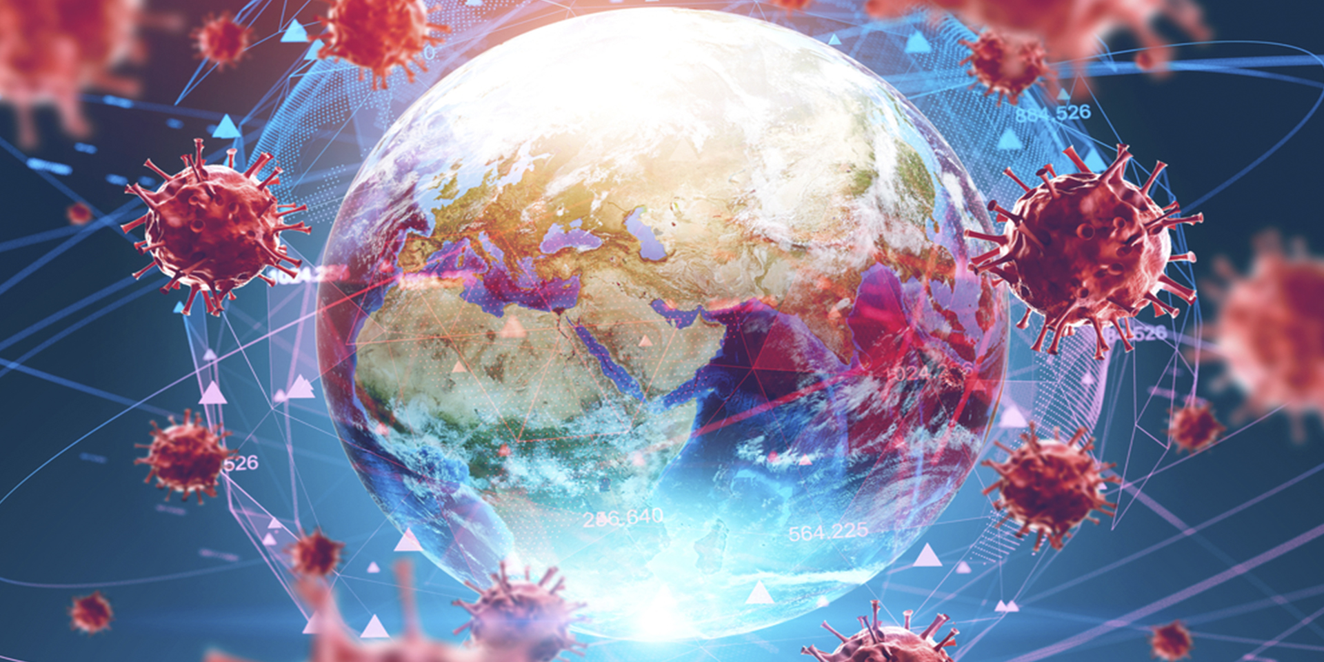 flu virus earth globe